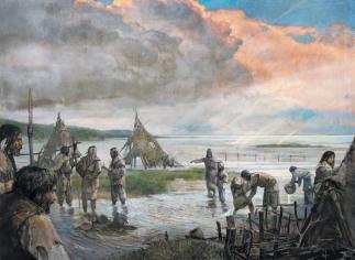 8 tys. lat p.n.e.: grupa łowców-zbieraczy, która schroniła się przed sztormem w głębi lądu, porządkuje zatopione obozowisko. W końcu zabraknie im suchej ziemi, na którą mogliby powrócić. / Rys. Alexander Maleev.