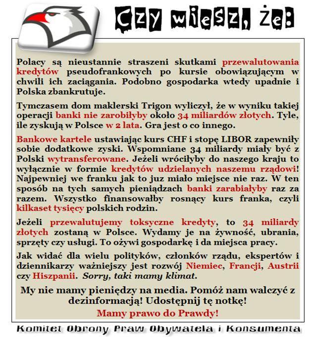 nowoczesna.pl kredyty frank szwajcarski